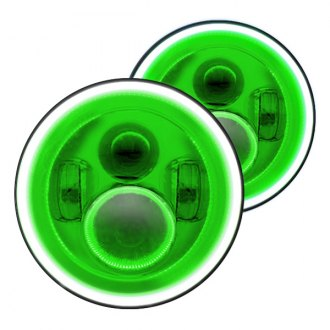 "Oracle Lighting® - 7"" Round Chrome Full LED Color Halo Projector Headlights, Plasma-Type Green Halo"