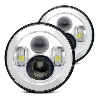 "Oracle Lighting® - 7"" Round Chrome Full LED Projector Headlights"