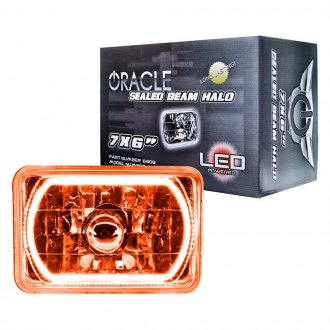 "Oracle Lighting® - 7x6"" Rectangular Amber Color Halo Headlight"