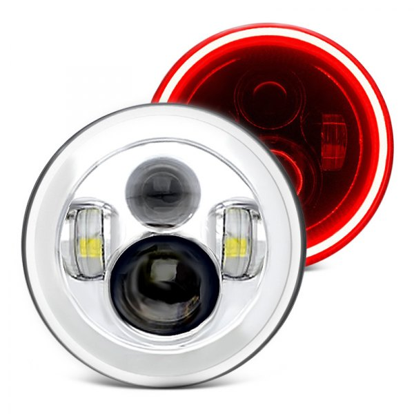 "Oracle Lighting® - 7"" Round Chrome Color Halo Projector LED Headlights, ColorShift"