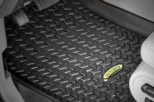 Image may not reflect your exact vehicle! Outland Automotive® - All Terrain Black 1st & 2nd Row Set Floor Liner