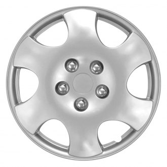 "OxGord® - 15"" 6 Angled Spokes Silver Wheel Cover Set"
