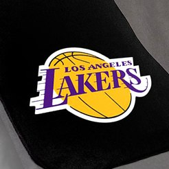 Black Carpet Mat With Lakers Logo