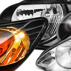 Black Euro Headlights with Amber Reflectors