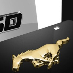 3d Gold Mustang Horse Logo Black License Plate