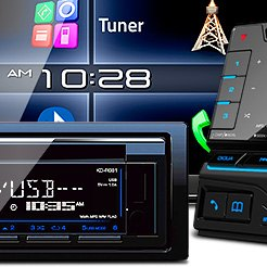 "JVC® - Double DIN DVD/CD/MP3/WMA/FLAC/AAC/MP4/AVI Receiver with 6.1"" Touchscreen Display Built-In Bluetooth, SiriusXM Radio Ready"