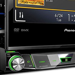 "Pioneer® - Single DIN DVD/CD/AM/FM/MP3/WMA/FLAC/AAC/MP4 Receiver with 7"" Motorized Touchscreen Display"