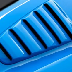Blue Car Side Window Louvers