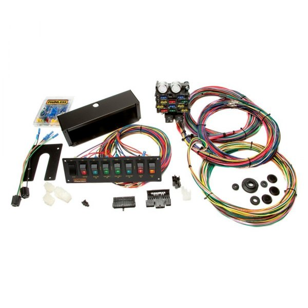 painless performance 174 50003 21 circuit chassis harness with switch panel
