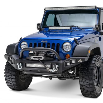 Paramount® - Off Road™ Full Width Front Winch Black Steel Bumper with LED Lights