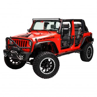 Paramount® - Stubby Black Front Winch HD Bumper with Grille Guard