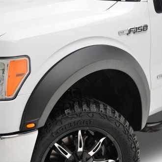 Paramount® - Raptor-Style Satin Black Front and Rear Fender Flares with LED Lights