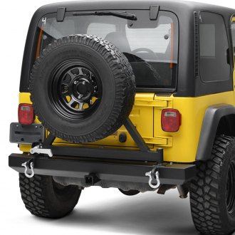 Paramount® - Off-Road™ Classic Full Width Black Rear HD Bumper with Tire Carrier