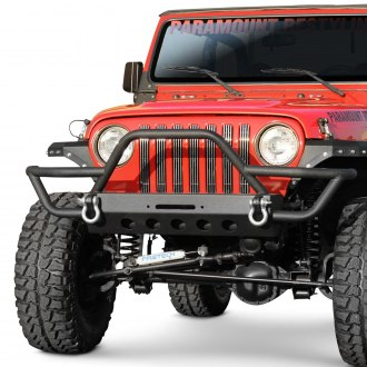 Paramount® - Off-Road™ Rock Crawler Full Width Black Front Winch Tubular Bumper with Stinger