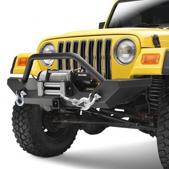 Paramount® - Off-Road™ Rock Crawler Full Width Black Front Winch HD Bumper with Hitch Receiver and Hoop