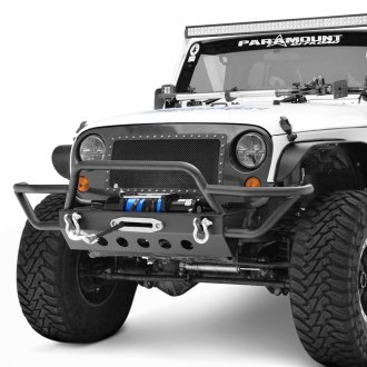 Paramount® - Off-Road™ Hybrid Full Width Black Front Winch Tubular Bumper with Brush Guard