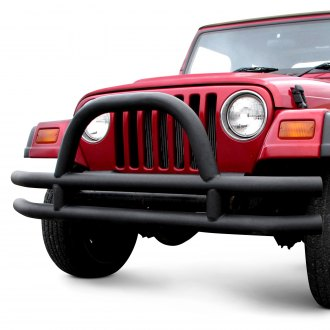 Paramount® - Off Road™ Full Width Black Front Fat Tubular Bumper with Hoop
