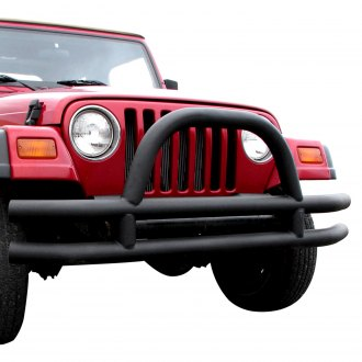 Paramount® - Off Road™ Full Width Front Fat Tubular Black Steel Bumper with Hoop