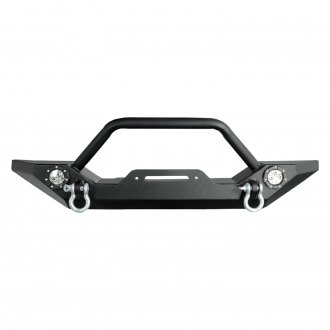 Paramount® - Off Road™ Rock Crawler Full Width Front HD Winch Black Steel Bumper with LED Lights