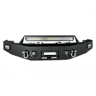 Paramount® - Full Width Front HD Winch Black Steel Bumper with LED Lights