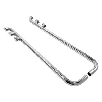 Patriot Exhaust® - Triple Style Chrome Low-Line Lake Pipes with Split Side Exit