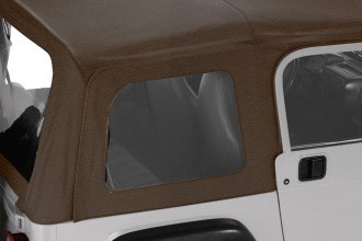 Pavement Ends® - Dark Tan Replay™ Fabric-only Soft Top W/O Upper Door Skins, With Clear Side and Rear Windows