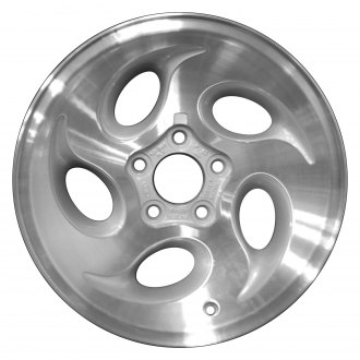 "Perfection Wheel® - 15"" Refinished 5 Slot Fine Metallic Silver Machine Texture Factory Alloy Wheel"