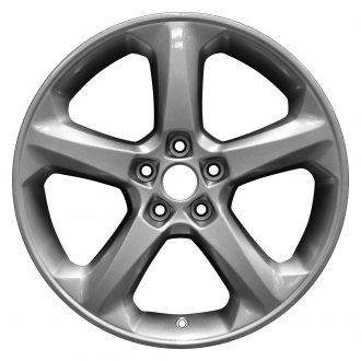 "Perfection Wheel® - 18"" Refinished 5 Spokes Black with Bright Medium Silver Full Face Factory Alloy Wheel"