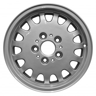 "Perfection Wheel® - 15"" Refinished 15 Slot Bright Fine Metallic Silver Full Face Factory Alloy Wheel"