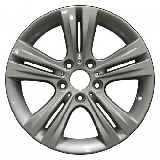 "Perfection Wheel® - 17"" Refinished 5 Double Spokes Bright Medium Silver Full Face Factory Alloy Wheel"