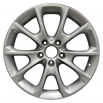 "Perfection Wheel® - 18"" Refinished 5 V Spokes Medium Sparkle Silver Full Face Factory Alloy Wheel"