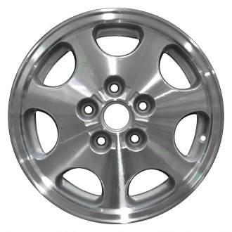 "Perfection Wheel® - 15"" Refinished 7 Slot Fine Metallic Silver Machined Factory Alloy Wheel"
