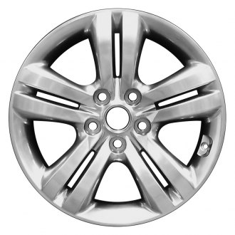 "Perfection Wheel® - 17"" Refinished 5 Double Spokes Hyper Bright Smoked Silver Full Face Bright Factory Alloy Wheel"