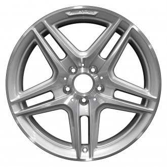 "Perfection Wheel® - 18"" Refinished 5 Split Spokes Bright Medium Silver Machined Bright Factory Alloy Wheel"