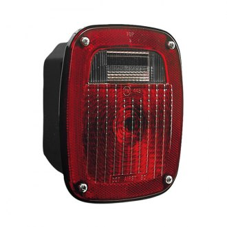 "Peterson® - 445 Series 6.25x6.75"" Rectangular Chrome/Red Combination Crystal Tail Light"