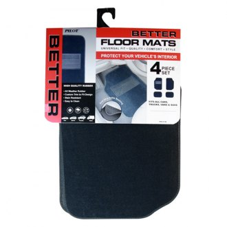 Pilot FMX-013B - Heavy Duty Blue Carpet 1st and 2nd Row Floor Mats Set with Rubber