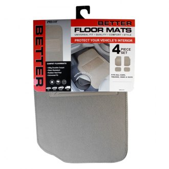 Pilot® - Heavy Duty Tan Carpet 1st and 2nd Row Floor Mats Set with Rubber