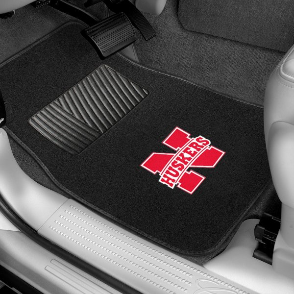 Pilot® - Collegiate 1st & 2nd Row Black Floor Mats with Nebraska Logo