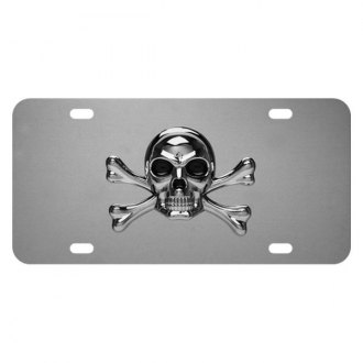 Pilot® - Chrome License Plate with Style 1 Skull Logo