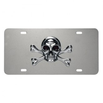 Pilot® - 3D Skull Logo on Chrome License Plate