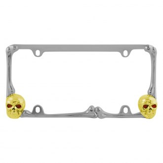 Pilot® - Chrome / Gold Skull License Plate Frame