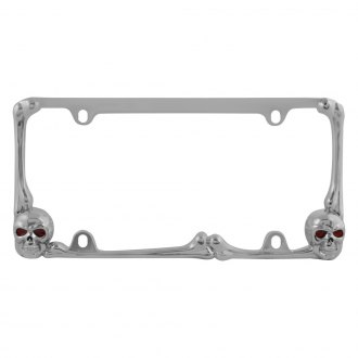 Pilot® - Chrome Skull License Plate Frame with Red LED