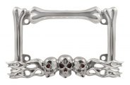Pilot® - Chrome Skull / Flames License Plate Frame