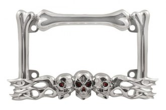 Pilot® - Chrome Plated Die Cast Zinc Motorcycle Skull / Flames License Frame