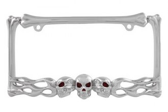 Pilot® - Chrome Skull And Flame License Plate Frame