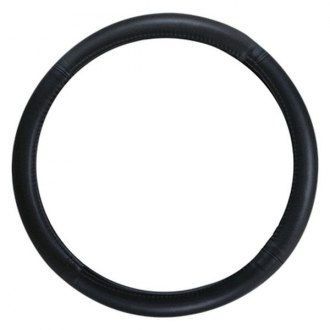 Pilot® - Plain Black Genuine Leather Steering Wheel Cover