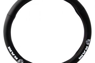 Pilot® - Plain Black Genuine Leather Steering Wheel Cover with Dodge Logo