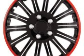 Pilot® - Cobra Black Chrome Wheel Covers with Red Accent 15""
