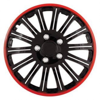 Pilot® - Cobra Black Chrome Wheel Covers with Red Accent 15