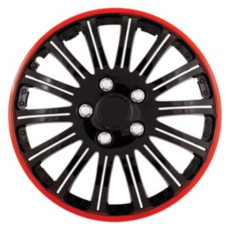 Pilot® - Cobra Black Chrome with Red Accent Wheel Covers 16""